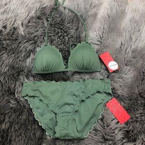 Gossip   Bikini Set   Scalloped   Olive   Size S